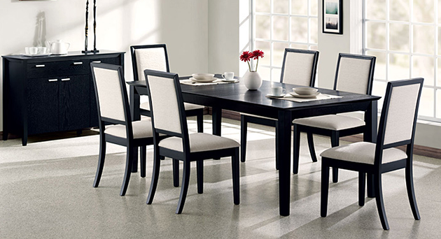 Lexton Black Dining Table w/ 6 Side Chairs